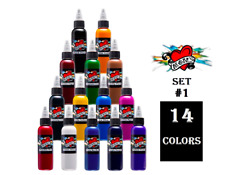 MOMS Tattoo Ink 14 Bright Colors Primary Set # 1 Bottle 2 oz 60 ml Authentic USA