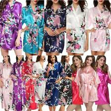 Women Peacock Satin Silk Robe Night Gown Wedding Bride Bathrobe Kimono Sleepwear