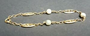 Bracelet Chaine filigranée Or 18 K et perles 4,4 grammes