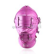 Lockable Faux Leather Gimp Hood Sensory Deprivation Mask Blindfold Adjustable
