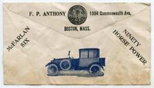 1920s Postal Ad Cover McFarlan Six Car Tyson Theatre Ticket Office Boston MA