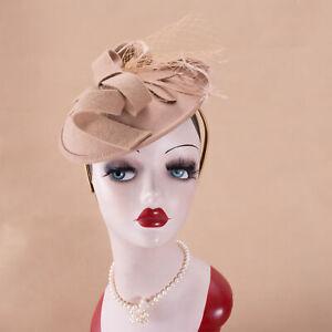 Saucer Wool Felt Inspired Percher Hat Fascinator Church Wedding Headband A549