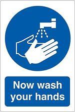 Now Wash Your Hands Sign - 15x20cm - Kitchen Self-adhesive Vinyl Sticker