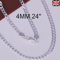 "Women Men 925 Sterling Silver Plated 4MM Necklace Chain Jewellery 16""-30"""