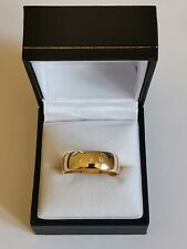 DIAMOND 3 stone SOLID GOLD WEDDING RING GENTS size W 9ct 375 thick 7mm band 6.7g