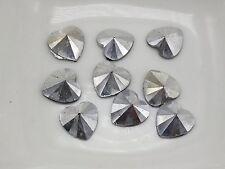 500 Silver Acrylic Rivoli Heart Flatback Rhinestone Gems 8X8mm