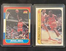 Michael Jordan  Bulls 1986 Fleer #57 Rookie Card- Plus RC Sticker #8/11