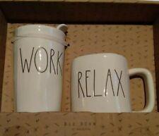 Rae Dunn WORK RELAX travel coffee mug tea box set By Magenta NEW in gift box