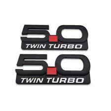 2x Black 50 Twin Turbo Emblem 50l V8 Badge Metal Sticker Decal For Mustang Gt