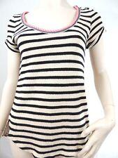 Anthropologie Womens Shirt Akemi + Kin Black Cream Stripes Floral Back Small