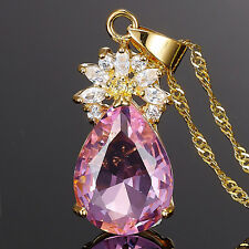 Sarotta Jewelry Pear Cut Pink Sapphire 18K Gold Plated Pendant Necklace Chain