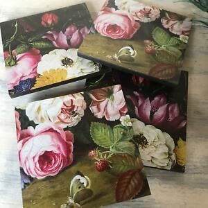 Floral Coaster Set Vintage Roses Boxed Set of 4 Country Chic Rustic Vogue Gift