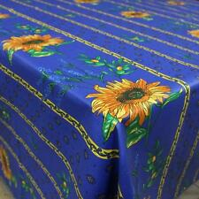 """60"""" x 60"""" Square COATED Provence Tablecloth - Sunflower & Lavender Blue"""