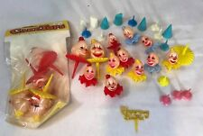 Vintage Wilton Derby Clown Heads Cake Toppers Tops Plastic Hong Kong lot
