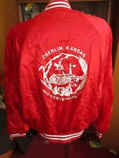 LARGE True Vtg 80's RED SATIN OBERLIN KANSAS 1985 WINDBREAKER Jacket USA