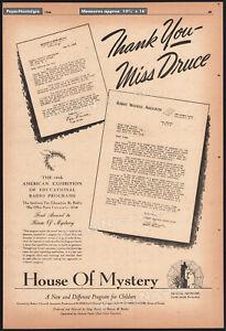 HOUSE OF MYSTERY__Original 1946 Trade AD_radio promo__OLGA DRUCE__ROBERT MAXWELL