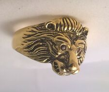 G-Filled Mens 18k yellow gold ring simulated diamond mouth ruby eyes lion animal