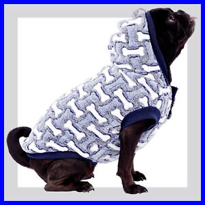 Top Paw Blue & White Bone Design Super Soft Fleece Hoodie S