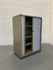 Half Height Schavello Mobile Office Tambour Cabinet With Keys - Metal