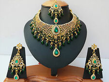 INDIAN JEWELLERY SET GREEN CLEAR STONES GOLD PLATED NEW - AQ/319