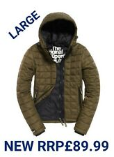 NEW RRP£89.99 LARGE SIZE WOMENS SUPERDRY HOODED BOX QUILT FUJI JACKET KHAKI BNWT