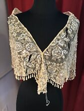 Vintage 1950s Lace Shawl Stole Wrap with Sequins and Beads Beaded Fringe