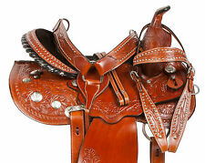 GAITED 14 15 16 PLEASURE TOOLED WESTERN BARREL TRAIL HORSE LEATHER SADDLE TACK
