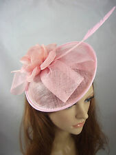 Pale Pastel Pink Bow Saucer Sinamay Fascinator - Occasion Wedding Races Hat