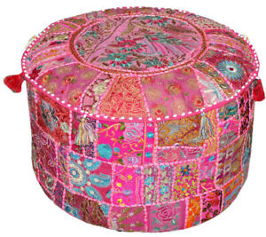 Vintage Pouf Cover Cotton New Ottoman Indian Handmade Patchwork Round Foot Stool