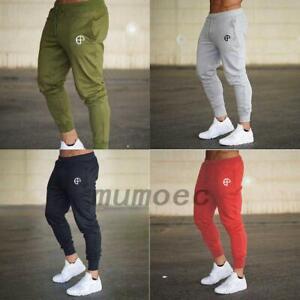 Men Slim Fit Jogger Sports Gym Bodybuilding Running Track Trousers Sweatpants UK