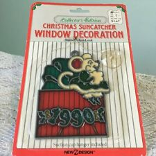 Vtg1990 Stained Glass Christmas Mouse Present 1990 Suncatcher Ornaments New