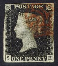 More details for 🌟 gb qv sg2 - 1d penny black - red mx - 1840 stamp - spacefiller - sc #1