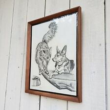 Vintage Original Cat Dog Animal Charcoal Pencil Drawing Framed Retro Artwork