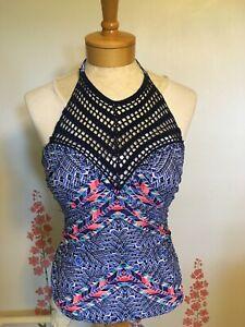 Island Waves Swimsuit Halter Top crochet Navy Blue, pink print size 6