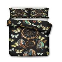 BOHO Dreamcatcher Butterfly Swallow Bird Bedding Duvet Quilt Cover Set Queen