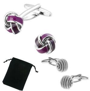 Unisex Purple Twist Spiral Knot Wedding Party Cuff-links With Free Storage Pouch