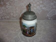 "Vintage German Hand Painted ""Betrothal"" Lithophane Pewter Lidded Stein"