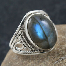 925 STERLING SILVER NATURAL LABRDORITE JEWELRY RING SIZE 8 IN-1805