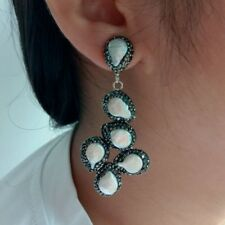 White Coin Pearl Black Crystal pave Stud Earrings