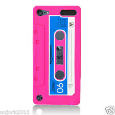 APPLE iPod Touch 5 RETRO STYLE CASSETTE TAPE SILICONE SKIN COVER CASE HOT PINK