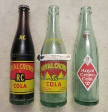 """UNOPENED"" ROYAL CROWN SODA. +2 EMPTY RC'S & VINTAGE RC BOTTLE OPENER 1955?"