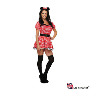 Women Minnie Mouse Costume Fancy Dress Red Polka Dot Adult Party Outfit U213