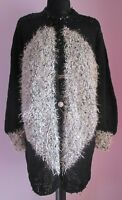 VTG Ladies Unbranded Black Sparkly Sequinned Applique Cardigan Size Large (j2)