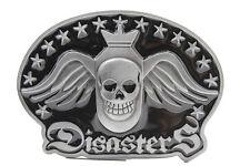 Men Belt Buckle Biker Fashion Silver Metal Skull Nuclear Bomb Wings Disasters