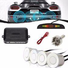 Car Parking Rear Kit Reverse+4pcs Sensors Buzzer Radar LED Display Alarm White