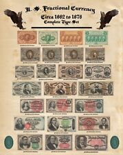 """Complete Fractional Currency Poster Type Set Au/Better Obverse & Reverse 16x20"""""""
