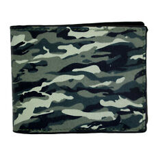 Camouflage Outside Men's Genuine Black Leather Bi Fold Wallet Military