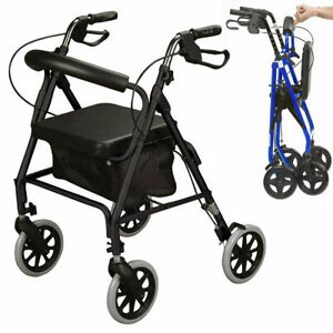 Ultra lightweight rollator mobility walker 4 wheeled walking aid frame with seat
