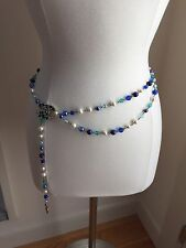 Chanel Fancy Belt Necklace Multi Blue Beads Pearls