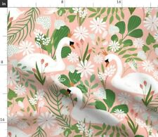 New listing Swan Princess Medium Scale Pink Bird Girl Home Spoonflower Fabric by the Yard